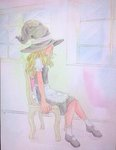 1girl acrylic_paint_(medium) apron blonde_hair chair dress frown graphite_(medium) hat highres kirisame_marisa long_hair mary_janes no_eyes photo profile shoes sitting solo texture touhou traditional_media watercolor_(medium) window witch_hat yuyu_(00365676)