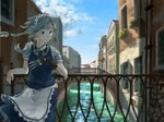 1girl aamond apron arm_rest balcony bangs between_fingers bird blue_eyes blue_skirt blue_sky blue_vest braid bridge building canal cloud commentary_request cowboy_shot day fingerless_gloves gloves hair_blowing hair_ribbon handrail highres izayoi_sakuya knife leaning_on_rail looking_to_the_side maid_headdress outdoors planter puffy_short_sleeves puffy_sleeves ribbon short_hair short_sleeves silver_hair single_glove skirt sky solo touhou tress_ribbon twin_braids venice vest waist_apron wind