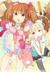 2girls :3 \m/ ashino bangs blush bow breasts candy cleavage commentary_request dot_nose food frilled_sleeves frills futaba_anzu hair_bow idolmaster idolmaster_cinderella_girls lace_border light_brown_eyes lollipop long_hair looking_at_viewer loose_necktie low_twintails moroboshi_kirari mouth_hold multiple_girls necktie open_mouth orange_eyes orange_hair orange_neckwear outstretched_arm outstretched_legs pink_bow platinum_blonde_hair reaching_out short_sleeves sitting stuffed_animal stuffed_bunny stuffed_toy swirl_lollipop twintails v-shaped_eyebrows v_arms wrist_bow