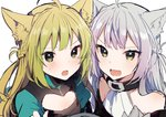 2girls :o agrius_metamorphosis ahoge animal_ear_fluff animal_ears atalanta_(alter)_(fate) atalanta_(fate) bangs bare_shoulders blush braid buckle cat_ears cleavage_cutout closed_eyes collar fang fate/grand_order fate_(series) french_braid green_eyes green_hair grey_hair ikeuchi_tanuma long_hair multiple_girls open_mouth puffy_sleeves simple_background sketch sweat upper_body v-shaped_eyebrows white_background