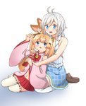 2girls :d animal_ears antenna_hair argyle argyle_skirt bangs bare_arms bare_shoulders bell blue_eyes blue_skirt blush bow commentary_request crossover dennou_shoujo_youtuber_shiro detached_sleeves eyelashes food fox_ears fox_tail hair_bell hair_between_eyes hair_ornament hair_ribbon hairclip hand_up highres holding jingle_bell kemomimi_vr_channel long_hair long_sleeves looking_at_another mikoko_(kemomimi_vr_channel) miniskirt multiple_girls navel open_mouth orange_hair outsuchi pink_shirt pleated_skirt pocky red_bow red_ribbon red_skirt ribbon ribbon-trimmed_clothes ribbon-trimmed_legwear ribbon_trim shiro_(dennou_shoujo_youtuber_shiro) shirt shoes short_hair sidelocks silver_hair sitting skirt sleeveless sleeveless_shirt smile stomach striped striped_shirt tail thighhighs twintails vertical-striped_shirt vertical_stripes virtual_youtuber wariza white_legwear wide_sleeves zettai_ryouiki