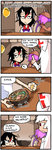 3girls 4koma alcohol beer beer_mug black_hair bow bowtie chopsticks comic commentary cup finnish food fujiwara_no_mokou holding holding_cup horns kijin_seija lantern long_hair multiple_girls mystia_lorelei noodles paper_lantern purple_hair ramen red_eyes setz touhou translated trolling white_hair winged_hat wings