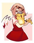 1girl bangs blonde_hair blush_stickers covered_face cowboy_shot crossover crystal detective detective_pikachu eyewear_on_head flandre_scarlet gen_1_pokemon hat holding holding_pokemon one_eye_closed pikachu pointy_ears pokemon pokemon_(creature) puffy_short_sleeves puffy_sleeves red_eyes red_skirt red_vest shirt short_sleeves side_ponytail skirt smile sunglasses touhou vest white_shirt yoruny
