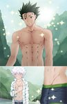 2boys abs blush brown_eyes bulge chest gon-san gon_freecss green_hair grin hunter_x_hunter killua_zoldyck male_focus multiple_boys muscle nipples open_clothes open_mouth open_shirt shailo shirtless smile sparkle sweat yaoi
