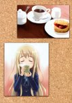 1girl absurdres blonde_hair blue_ribbon blush blush_stickers closed_eyes cup eyebrows_visible_through_hair goto_p highres huge_filesize k-on! kotobuki_tsumugi long_hair looking_away ribbon scan school_uniform solo tea teacup