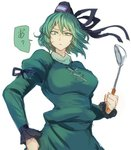 1girl annoyed breasts clenched_hands commentary_request dress frown green_dress green_eyes green_hair hat holding holding_spoon huge_breasts juliet_sleeves ladle long_sleeves looking_at_viewer puffy_sleeves short_hair simple_background soga_no_tojiko solo spoon tate_eboshi terrajin touhou upper_body white_background