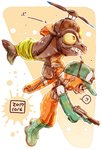 !? 1girl baseball_cap boots carrying commentary_request dated domino_mask flying from_side frown gloves green_footwear green_gloves green_headwear grimace harutarou_(orion_3boshi) hat highres holding holding_weapon inkling lifebuoy long_sleeves mask medium_hair n-zap_(splatoon) orange_eyes orange_overalls overalls paint_splatter pointy_ears ponytail print_hat propeller_hat rubber_boots rubber_gloves salmon_run salmonid shirt splatoon_(series) splatoon_2 spoken_interrobang sweatdrop tentacle_hair weapon white_shirt
