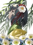 1girl black_eyes black_hair commentary_request flower from_side hair_flower hair_ornament hieda_no_akyuu highres japanese_clothes kimono looking_away medium_hair plant solo suna_(s73d) touhou upper_body