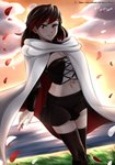 1girl absurdres artist_request black_hair blush cape corset grass highres looking_at_viewer midriff navel patreon_logo patreon_username petals red_hair rose_petals rwby short_hair silver_eyes skirt smile solo summer_rose sunset vilde_loh_hocen watermark web_address white_cape white_petals