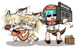 2girls afterimage animal_ears bare_legs bare_shoulders boombox cassette_tape cat_ears cat_tail diz_(diznaoto) donkey_kong_(series) donkey_kong_country_2 gloves guitar hood hoodie instrument kemono_friends multiple_girls musical_note open_mouth parody sand_cat_(kemono_friends) sand_cat_print sandals snake_tail speed_lines striped_clothes sunglasses tail thighhighs tsuchinoko_(kemono_friends)