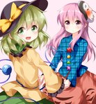 2girls :d black_hat blue_shirt blush bow eyebrows_visible_through_hair eyes_visible_through_hair frilled_shirt_collar frilled_sleeves frills green_eyes green_hair green_skirt hair_between_eyes hat hat_bow hata_no_kokoro heart heart_of_string highres holding_hands komeiji_koishi long_hair long_sleeves looking_at_viewer looking_back mask mask_on_head multiple_girls open_mouth pink_eyes pink_hair pink_skirt plaid plaid_shirt ruu_(tksymkw) shirt simple_background skirt smile touhou unmoving_pattern wide_sleeves yellow_bow yellow_shirt