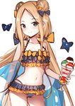 1girl abigail_williams_(fate/grand_order) bare_arms bare_shoulders bikini black_bikini black_bow blonde_hair blush bow cameltoe closed_mouth collarbone commentary_request cowboy_shot emerald_float fate/grand_order fate_(series) food groin hair_bow highres holding ice_cream ice_cream_float innertube long_hair low_twintails navel orange_bow polka_dot polka_dot_bow simple_background smile solo swimsuit transparent twintails very_long_hair white_background yan_(nicknikg)