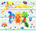 :d annotated aqua_eyes berry bird blue_eyes bulbasaur charmander commentary_request creature game_boy_advance gen_1_pokemon gen_3_pokemon handheld_game_console jirachi jumping lai_(pixiv1814979) leppa_berry medal mudkip multicolored multicolored_background nintendo_ds no_humans open_mouth oran_berry orb pecha_berry pikachu pink_eyes pokeblock pokeblock_case pokemon pokemon_(creature) rawst_berry sitrus_berry smile squirtle striped striped_background torchic treecko umbrella wailmer_pail water watering_can yellow_sclera