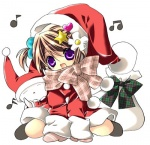 1girl :d bad_id bad_pixiv_id beamed_eighth_notes brown_hair dress eighth_note hat koge_donbo looking_at_viewer lowres musical_note open_mouth original purple_eyes red_dress santa_costume santa_hat scarf short_hair simple_background sixteenth_note smile snow snowman solo white_background