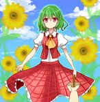 1girl ascot blouse cloud cloudy_sky cowboy_shot flower green_hair kazami_yuuka looking_at_viewer no_legs outline parasol plaid plaid_skirt plaid_vest puffy_short_sleeves puffy_sleeves red_eyes short_hair short_sleeves sketch skirt skirt_set sky smile solo sunflower touhou umbrella yada_(xxxadaman)