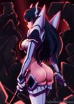 1girl absurdres ass black_hair blue_eyes boots breasts caffeccino commentary dual_wielding english_commentary from_behind highres holding huge_filesize junketsu kamui_(kill_la_kill) katana kill_la_kill kiryuuin_satsuki large_breasts long_hair looking_back revealing_clothes serious sideways_mouth solo sword thick_eyebrows thigh_boots thighhighs thong wakizashi watermark weapon web_address