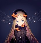1girl abigail_williams_(fate/grand_order) bangs black_background black_bow black_dress black_hat blonde_hair blue_eyes bow bug butterfly dress eyebrows_visible_through_hair fate/grand_order fate_(series) forehead glowing hair_bow hands_up hat head_tilt insect long_hair long_sleeves looking_at_viewer orange_bow parted_bangs parted_lips polka_dot polka_dot_bow sleeves_past_fingers sleeves_past_wrists solo very_long_hair zhi_(yammycheese)