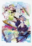 2girls :d absurdres atelier_(series) atelier_lydie_&_suelle boots bow breasts castle cleavage gloves gun hairband handgun highres huge_filesize long_hair looking_at_viewer lydie_marlen multiple_girls noco_(adamas) official_art open_mouth painting_(object) pink_eyes pink_hair pistol scan short_hair siblings side_ponytail sisters sitting small_breasts smile staff suelle_marlen thighhighs twins weapon yellow_bow yuugen