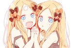 2girls :d abigail_williams_(fate/grand_order) bangs black_bow black_dress blue_eyes blush bow crossed_bandaids dress dual_persona fate/grand_order fate_(series) forehead hair_blowing hand_up highres holding_hands interlocked_fingers long_hair multiple_girls open_mouth orange_bow parted_bangs parted_lips sharp_teeth signature simple_background smile sofra strap_slip teeth upper_body very_long_hair white_background