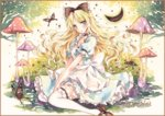 1girl :o apron berries between_legs blonde_hair blue_eyes border butterfly choker colored_pencil_(medium) crescent_moon frilled_legwear frilled_skirt frills gradient gradient_background hair_ribbon hand_between_legs layered_dress long_hair looking_at_viewer marker_(medium) mary_janes moon mushroom original potto_(minntochan) puffy_short_sleeves puffy_sleeves ribbon sample shoes short_sleeves sitting skirt solo star_(sky) thighhighs traditional_media v_arms waist_apron wariza watercolor_(medium) white_legwear