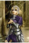 1girl andrea_tamme armor armored_dress bangs blonde_hair braid closed_mouth commentary cowboy_shot english_commentary fate/apocrypha fate_(series) faulds fine_art_parody halo headpiece holding holding_sword holding_weapon jeanne_d'arc_(fate) jeanne_d'arc_(fate)_(all) long_hair looking_up parody plackart purple_eyes single_braid solo standing sword vambraces watermark weapon web_address
