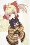 1girl absurdres ahoge black_shirt blonde_hair book borrowed_character bow brown_dress brown_eyes buran_(kure) closed_mouth commentary_request dress frilled_bow frills hair_bow high_ponytail highres long_hair long_sleeves looking_at_viewer object_hug original plaid ponytail red_bow shirt sidelocks sleeveless sleeveless_dress sleeves_past_fingers sleeves_past_wrists solo