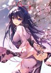 1girl arms_behind_back bangs bison_cangshu blurry blurry_background blush breasts cherry_blossoms commentary_request date_a_live floating_hair from_behind hair_between_eyes highres japanese_clothes kimono long_hair looking_at_viewer looking_back medium_breasts obi open_mouth ponytail purple_eyes purple_hair purple_kimono ribbon sash smile solo very_long_hair wide_sleeves wind yatogami_tooka