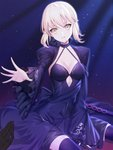 1girl arm_support artoria_pendragon_(all) bangs between_legs black_dress black_gloves black_legwear blonde_hair breasts cleavage collarbone commentary_request dark_excalibur dress fate/grand_order fate_(series) frilled_sleeves frills gloves halter_dress head_tilt highres light_particles long_sleeves looking_at_viewer medium_breasts outstretched_hand parted_lips pov pov_hands ririko_(zhuoyandesailaer) saber_alter short_hair sitting sleeves_past_wrists solo sword thighhighs weapon wide_sleeves yellow_eyes