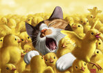 animal artist_name beak bird black_eyes blurry cat chick closed_eyes commentary_request depth_of_field fangs matataku no_humans open_mouth original signature simple_background talons teeth tongue too_many too_many_chicks whiskers yellow_background