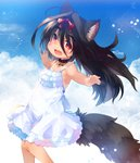 1girl animal_ear_fluff animal_ears armpits black_hair bow cloud collar commentary_request dog_ears dog_tail dress fang hair_bow highres kannagi_cocoa long_hair open_mouth original outdoors outstretched_arms red_eyes ribbon sky smile solo sundress tail tan tanline toba_hiyoko white_dress