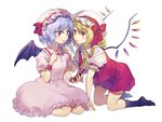 2girls ascot bangs bat_wings black_legwear blonde_hair blue_hair blush bow crystal dress eye_contact eyebrows_visible_through_hair flandre_scarlet food food_in_mouth frilled_shirt_collar frills hair_between_eyes hand_on_another's_shoulder hand_up hat hat_bow hat_ribbon highres holding holding_food incest kneehighs kneeling long_hair looking_at_another miniskirt misha_(hoongju) mob_cap mouth_hold multiple_girls one_side_up parted_lips pink_dress pink_headwear pleated_skirt pocky puffy_short_sleeves puffy_sleeves red_bow red_eyes red_ribbon red_skirt red_vest remilia_scarlet ribbon seiza short_hair short_sleeves siblings simple_background sisters sitting skirt skirt_set touhou vest white_background white_headwear wings wrist_cuffs yellow_neckwear yuri