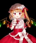 1girl alternate_costume arm_up bangs black_background blonde_hair bow breasts cowboy_shot crystal eyebrows_visible_through_hair fang finger_to_cheek flandre_scarlet frilled_shirt frills glowing hair_ribbon hat layered_skirt looking_at_viewer mob_cap open_mouth pale_skin pointy_ears puffy_short_sleeves puffy_sleeves red_eyes red_skirt ribbon sakipsakip shirt short_hair short_sleeves side_ponytail simple_background skin_fang skirt small_breasts solo standing swept_bangs touhou twitter_username underbust white_bow white_headwear white_shirt wings wrist_cuffs