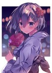 1girl alternate_costume blue_eyes blurry blush bokeh breasts closed_mouth colored_eyelashes depth_of_field eyelashes fan flower from_side hair_between_eyes hair_flower hair_ornament hairclip hamakaze_(kantai_collection) holding_fan japanese_clothes kantai_collection kimono kureaki_(exit) light_particles long_sleeves looking_at_viewer medium_breasts messy_hair obi outside_border paper_fan print_yukata red_flower sash shiny shiny_hair short_hair silver_hair smile solo uchiwa upper_body wide_sleeves yukata