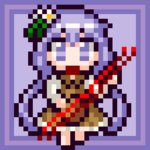 1girl absurdly_long_hair border brown_dress commentary_request dress eruru_(erl) flower full_body hair_flower hair_ornament lavender_eyes lavender_hair long_hair low_twintails lowres pixel_art purple_background simple_background touhou tsukumo_benben twintails very_long_hair