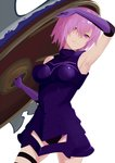 1girl arm_up armored_leotard armpits bangs cowboy_shot elbow_gloves fate/grand_order fate_(series) gloves hair_between_eyes holding_shield jack-barro leotard long_hair mash_kyrielight pink_hair purple_eyes purple_gloves purple_leotard shield short_hair smile solo standing thigh_strap white_background