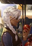 1girl ana_(overwatch) apple blue_shirt braid commentary_request dark_skin day eyepatch food from_side fruit hair_over_shoulder highres holding holding_food holding_fruit jewelry kuzunue lips long_braid market medium_hair nose old_woman one-eyed overwatch pinstripe_shirt ring shirt single_braid solo_focus vest white_hair
