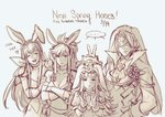 1boy 3girls animal_ears breasts brother_and_sister bunny_ears cleavage closed_eyes closed_mouth commentary_request copyright_name crossed_arms dated double_v fake_animal_ears fire_emblem fire_emblem:_monshou_no_nazo fire_emblem:_seima_no_kouseki fire_emblem_heroes flower gloves grey_background hair_flower hair_ornament krazehkai long_hair long_sleeves marica_(fire_emblem) mask monochrome multiple_girls mysterious_man_(fire_emblem) open_mouth paola short_hair siblings simple_background upper_body v veronica_(fire_emblem)