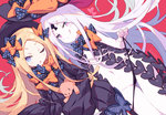 2girls :q ;o abigail_williams_(fate/grand_order) artist_name bangs black_bow black_dress black_headwear black_panties blonde_hair blue_eyes blush bow bug butterfly closed_mouth commentary dress dual_persona dutch_angle eyebrows_visible_through_hair fate/grand_order fate_(series) hat hat_bow heart insect keyhole litsvn long_hair long_sleeves looking_at_viewer multiple_girls navel object_hug one_eye_closed orange_bow pale_skin panties panty_lift panty_pull parted_bangs parted_lips pink_eyes polka_dot polka_dot_bow red_background revealing_clothes seductive_smile simple_background skull_print sleeves_past_wrists smile stuffed_animal stuffed_toy teddy_bear tongue tongue_out underwear v-shaped_eyebrows very_long_hair white_hair