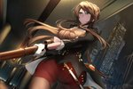 1girl alternate_costume bangs black_coat braid breasts brown_hair building city city_lights cityscape closed_mouth french_braid girls_frontline gloves green_eyes gun hair_ornament holding indoors large_breasts lee-enfield lee-enfield_(girls_frontline) long_hair looking_away night night_sky o_zone pantyhose ribbon rifle scenery sky skyscraper solo uniform weapon white_gloves
