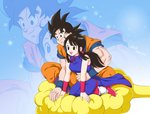 1boy 1girl 2016 :d artist_name black_eyes black_hair chi-chi_(dragon_ball) chinese_clothes dougi dragon_ball dragon_ball_z flying_nimbus highres husband_and_wife kneeling masa_(p-piyo) open_mouth sitting smile son_gokuu spiked_hair