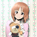 1girl bandages bangs boko_(girls_und_panzer) brown_eyes brown_hair cast casual closed_mouth eyepatch floral_background girls_und_panzer holding holding_stuffed_animal kuromorimine_military_uniform long_sleeves looking_at_viewer nakahira_guy nishizumi_miho pink_shirt portrait shirt short_hair smile solo stuffed_animal stuffed_toy teddy_bear wallpaper_(object)