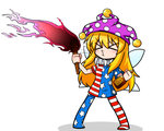 1girl >3< alcohol american_flag_dress american_flag_legwear blonde_hair bottle breathing_fire chibi clownpiece fairy_wings fire hat jester_cap katsumi5o long_hair neck_ruff pantyhose pink_fire purple_fire simple_background solo torch touhou white_background wings