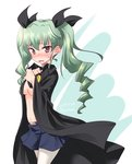 1girl anchovy anzio_school_uniform bangs belt black_belt black_cape black_ribbon black_skirt blush breasts cape cape_tug covering covering_breasts cowboy_shot dated drill_hair embarrassed eyebrows_visible_through_hair frown girls_und_panzer green_hair hair_ribbon highres kuzuryuu_kennosuke long_hair looking_at_viewer medium_breasts miniskirt navel open_mouth pantyhose pleated_skirt red_eyes ribbon school_uniform skirt solo standing sweatdrop topless twin_drills twintails twitter_username white_legwear