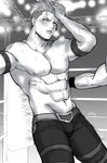 1boy abs achilles_(fate) adonis_belt arm_rest belt blush chest fate/apocrypha fate_(series) greyscale hand_in_hair highres kitano_gori male_focus monochrome navel nipples pants parted_lips pectorals shirtless signature stage_lights sweat thigh_strap tired undercut wrestling_outfit wrestling_ring