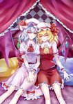 2girls absurdres ascot bangs bat_wings bed_sheet blonde_hair blue_hair blush bow breasts brooch center_frills checkered chinese_commentary commentary_request crystal curtains dress eyebrows_visible_through_hair fang feet_out_of_frame flandre_scarlet frilled_ascot frilled_shirt_collar frills hair_between_eyes hand_on_another's_head hat hat_bow hat_ribbon highres holding_hands jewelry kirby_d_a looking_at_viewer miniskirt mob_cap multiple_girls one_side_up parted_lips petticoat pillow pink_dress puffy_short_sleeves puffy_sleeves red_bow red_eyes red_neckwear red_ribbon red_sash red_skirt red_vest remilia_scarlet ribbon sash shadow shirt short_hair short_sleeves siblings sisters sitting skirt skirt_set small_breasts smile touhou vest white_headwear white_shirt wings wrist_cuffs yellow_neckwear