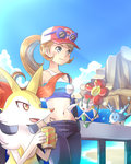 1girl alternate_color animal_ears bag bandeau bare_shoulders beach black_pants blonde_hair blue-framed_eyewear blue_background blush braixen can cloud corsola day drinking_straw fangs flabebe flower fox_ears glasses grey_eyes hand_up hands_up hat konna-nani navel ocean open_mouth outdoors pants pokemon pokemon_(creature) pokemon_(game) pokemon_xy ponytail red_flower red_hat serena_(pokemon) shiny_pokemon sky sleeveless smile soda_can standing strapless sunglasses sunlight teeth tied_hair water yellow_eyes