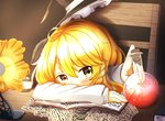 1girl ahoge blonde_hair blush book bottle bow braid chair commentary_request cork desk desk_lamp hat hat_bow hat_ribbon headwear_removed kirisame_marisa lamp long_sleeves looking_at_viewer natsune_ilasuto paper potion quill resting ribbon scribble side_braid single_braid sitting solo touhou witch_hat yellow_eyes