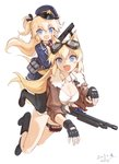 2girls animal_ears artist_name black_gloves black_legwear blonde_hair blue_eyes blue_skirt breasts cleavage collarbone commentary dated dog_ears dog_tags eyebrows_visible_through_hair fang fingerless_gloves girls_frontline gloves goggles goggles_on_head gun hair_ribbon hat highres holding holding_gun holding_weapon jacket kisetsu large_breasts long_hair long_sleeves mossberg_500 mossberg_500_(girls_frontline) multiple_girls necktie open_clothes open_jacket open_mouth pantyhose peaked_cap pleated_skirt police_hat red_neckwear ribbon riding serbu_super-shorty shirt shorts shotgun signature simple_background skirt smile super_shorty_(girls_frontline) tied_shirt two_side_up weapon white_background white_shirt