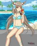 absurdres animal_ears beach bikini blue_bikini blush breasts cloud cloudy_sky collar cup day flower grey_hair hair_ornament highres holding holding_cup large_breasts long_hair navel niyah ocean palm_tree raptorthekiller ribbon sitting sky spoilers swimsuit tree very_long_hair xenoblade_(series) xenoblade_2 yellow_eyes