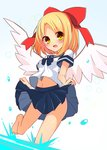 1girl angel_wings barefoot blonde_hair blue_skirt bow brown_eyes check_commentary commentary commentary_request gengetsu hair_bow highres inon lifted_by_self miniskirt navel open_mouth ribbon school_uniform serafuku shirt short_hair skirt skirt_lift solo splashing toes touhou wading water white_shirt wind wind_lift wings